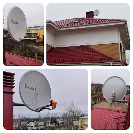 Установка спутниковой антенны и подключение 8-ми телевизоров в д. Глинка